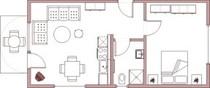 Ferienwohnung 3 mit einem Schlafzimmer und Balkon