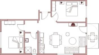 Ferienwohnung 2 mit 2 Schlafzimmern und Balkon